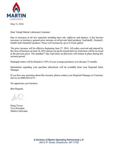 Sle Raise Letter To Price Increase Letter Sle 40 Images Complaint Letter