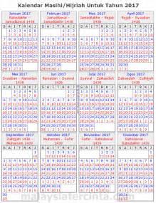 kalendar islam 2017 masihi 1438 1439 hijrah