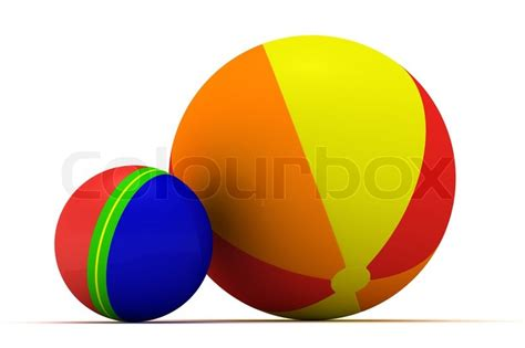 big and small multicolored balls isolated on the white