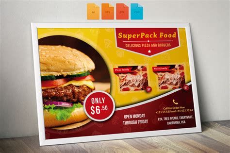 Flyer Fast Food Horizontal Flyer Templates On Creative Market Food Flyers Templates