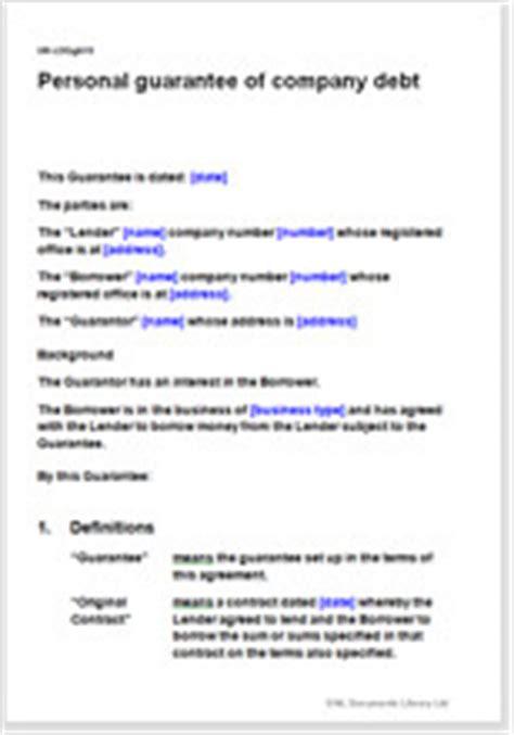 personal guarantee  company debt template