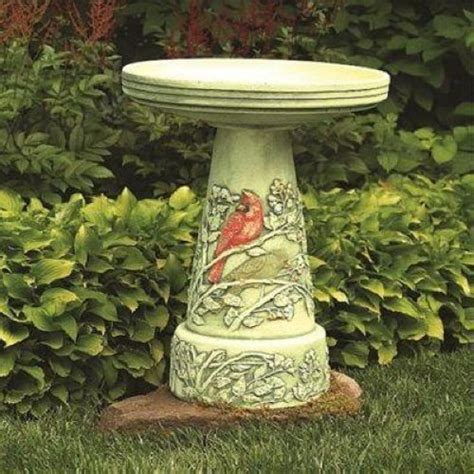 burley clay summer cardinal birdbath and pedestal stand