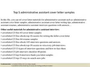 top 5 administrative assistant cover letter sles