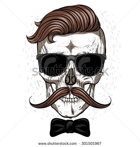 skulls that belinda peregrin wears in hair hipster skull with mustache and glasses white background