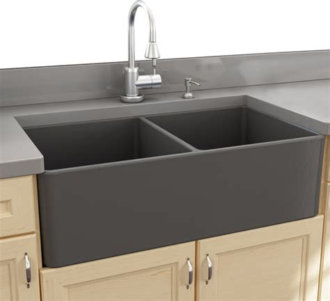 Nantucket Sinks 33'' Double Bowl Gray Fireclay Farmhouse Sink   Farmhouse   Kitchen Sinks   by