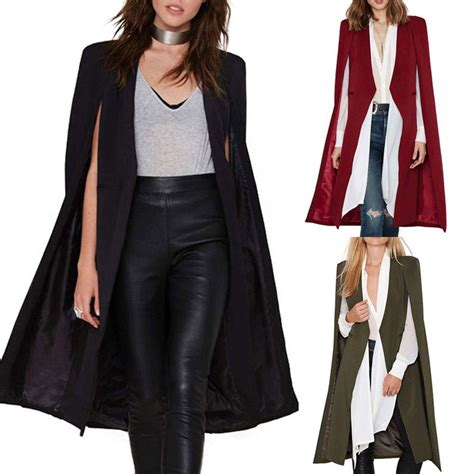 19664 Black Cape Blazer Coat womens casual cape cardigan blazer cloak jacket
