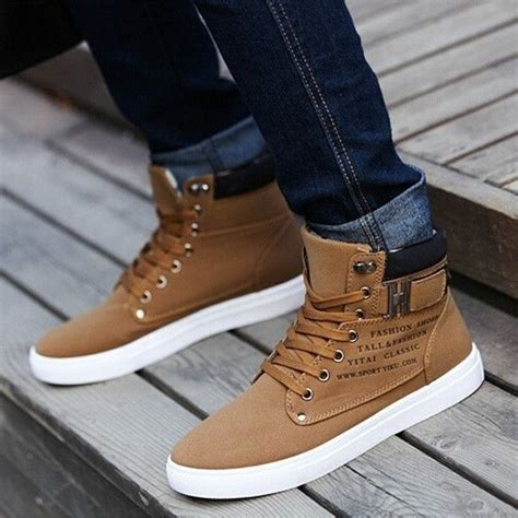 Sepatu Casual Pria Semi Boots Sneakers Kulit Berkuali Limited mr choc mens shoes new arrival retro style casual high top sneakers canvas shoes buyable
