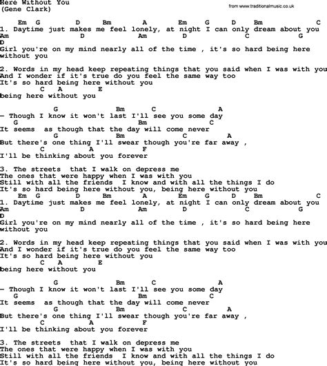 Or Lyrics Here Without You By The Byrds Lyrics And Chords