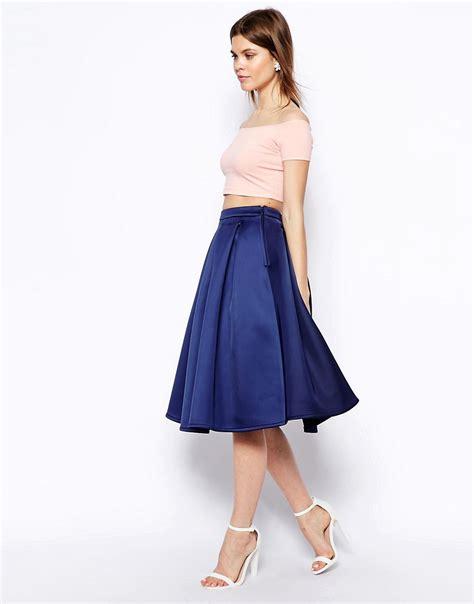 asos asos premium prom midi skirt in bonded satin at asos