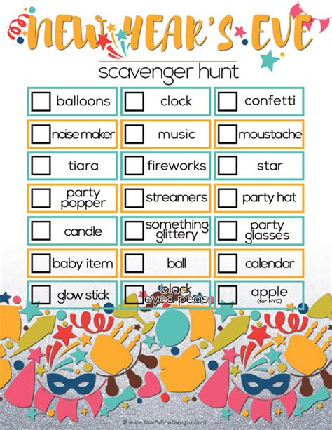 new year and activities for adults new year s scavenger hunt for free printable