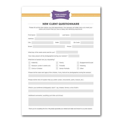 photography business forms templates new client questionnaire form template for photographers