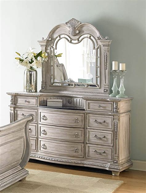 marble top dresser bedroom set homelegance palace ii white wash dresser with marble top