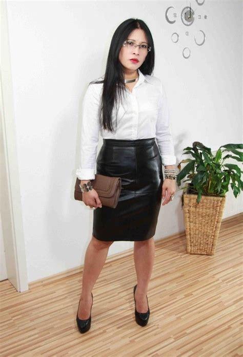 pencil skirt black leather pencil skirt