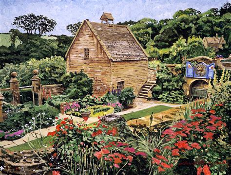A Framed Houses country stone manor house painting by david lloyd glover