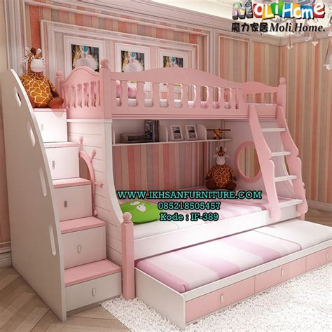 model ranjang susun anak perempuan terbaru set kamar anak ikhsan furniture jepara