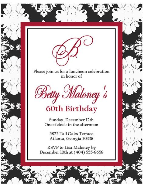 Template For 60th Birthday Card by 60th Birthday Invitations For Birthday Invitations