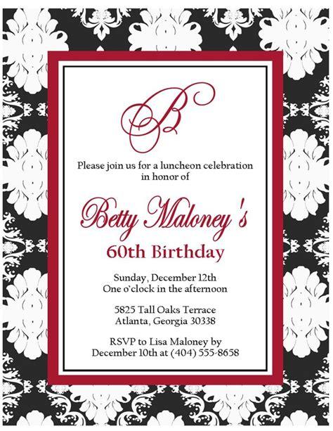 60th birthday card templates free 60th birthday invitations for birthday invitations