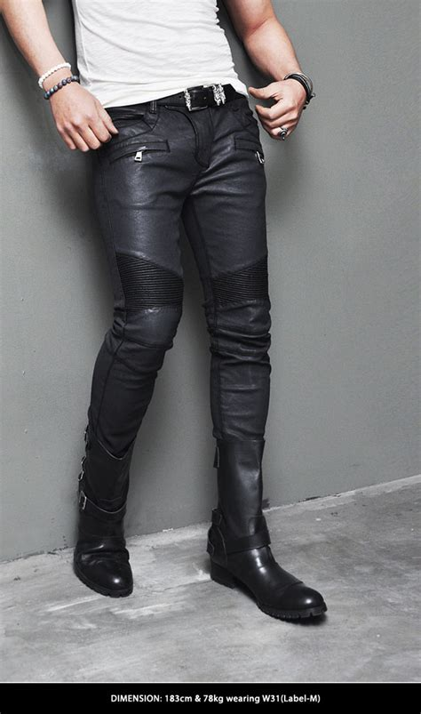 biker pants best ever design mens wax coated faux leather seaming