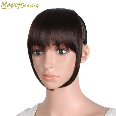 hair bangs pieces short front blunt bangs clip in hair extensions dark light