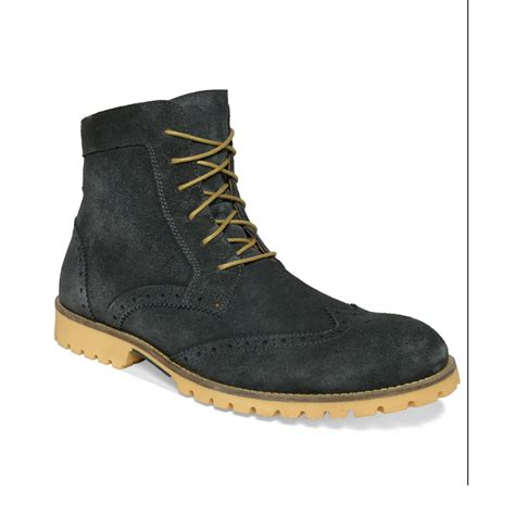 kenneth cole reaction pop along wingtip boots in gray for