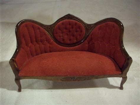 red victorian couch miniature doll house furniture victorian red velvet couch