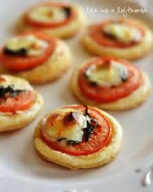 easy appetizers finger foods mini tomato and mozzarella tarts