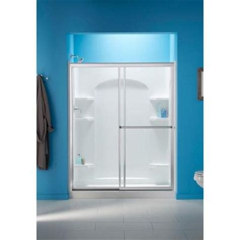 Sterling Glass Shower Doors Sterling Prevail 59 3 8 X 70 1 4 In Sliding Shower Door In Silver With Clear Glass Texture And
