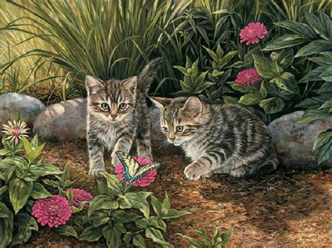 Lukisan Kucing 3 Acrylic Cat Painting kitten paintings trouble cats rosemary millette