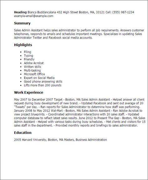 Resume Sles For Experienced Administrative Assistants Professional Sales Admin Assistant Templates To Showcase Your Talent Myperfectresume