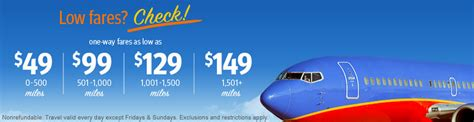 southwest sale southwest fare sale 49 and up running with miles