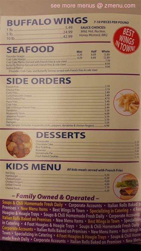 menu of the original steak and hoagie restaurant