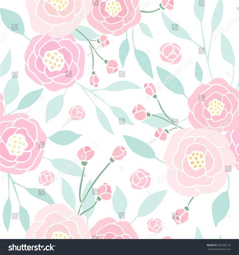 pattern cute pink vector cute pink peony seamless pattern vector stock vector