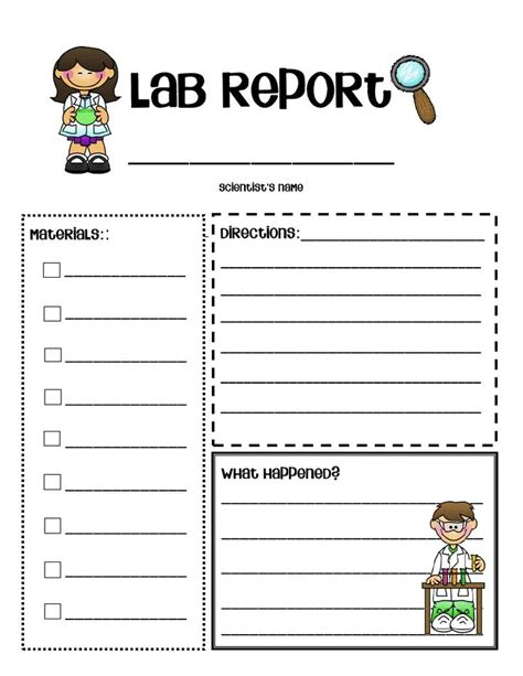 science report template printable lab report form science lab report template