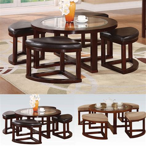 Coffee Table With 4 Ottomans Patia 5 Pcs Coffee Table 4 Ottomans Set Glass Top Microfiber Faux Leather Ebay