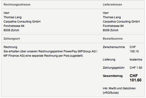 Rechnung Schweiz Lieferung Onlineshopping Gegen Rechnung Reputationsrisiken Bei Abtretung Der Forderung Erfahrungsbericht