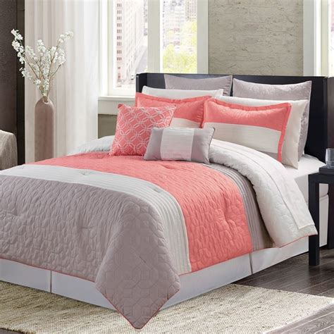 coral color comforter mint green and coral bedding bay shore coral 11 piece