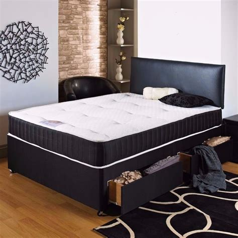 bed sale storage divan bed with memory foam mattress with 2 drawers with in black white in