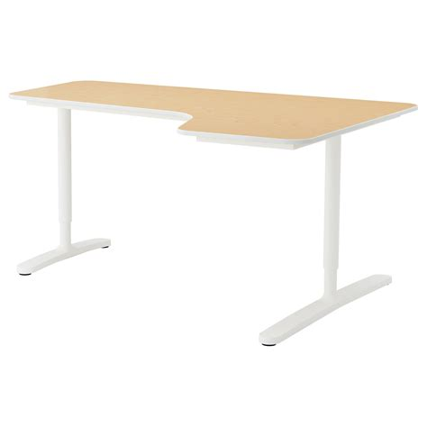 Birch Corner Desk Bekant Corner Desk Right Birch Veneer White 160x110 Cm Ikea