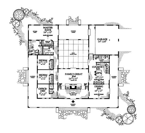 courtyard house plan u shaped house plan with courtyard floor plans pinterest