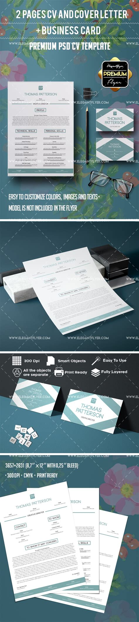 resume template 2 pages business card by