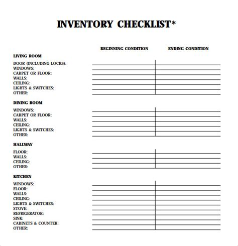 landlord inventory template 5 download free documents