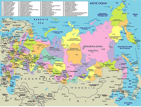 political map of russia with cities maps russia