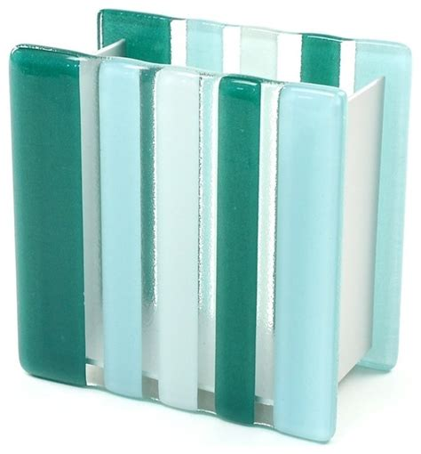 light blue or green glass aluminum toothbrush holder