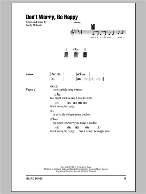 ukulele tutorial don t worry be happy don t worry be happy sheet music by bobby mcferrin
