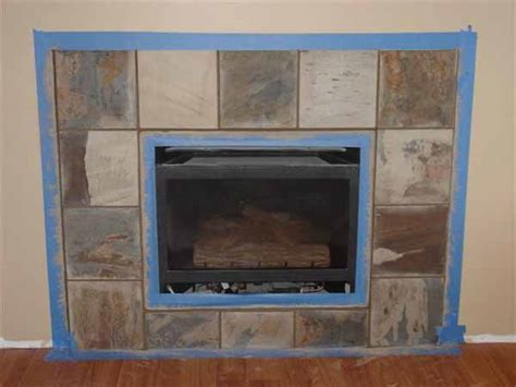 how to set slate around a gas fireplace ceramic tile