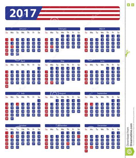 usa calendar 2017 with official holidays stock vector