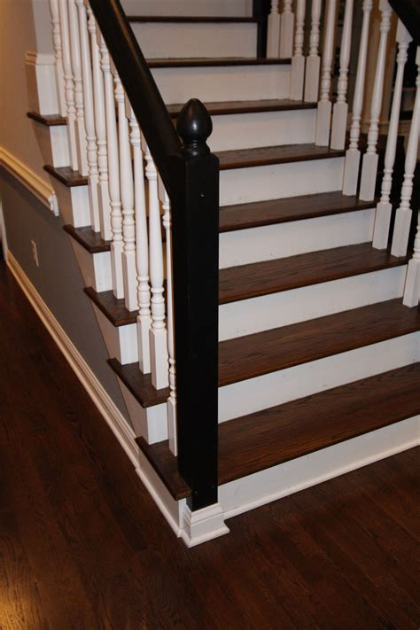 Jacobean Stained Floor Stair Treads With White Spindles