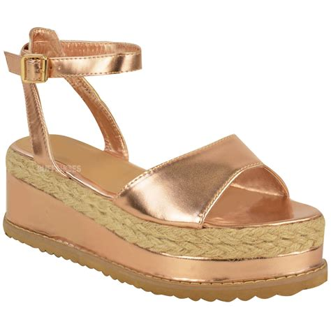 womens strappy sandals new womens chunky espadrille strappy sandals