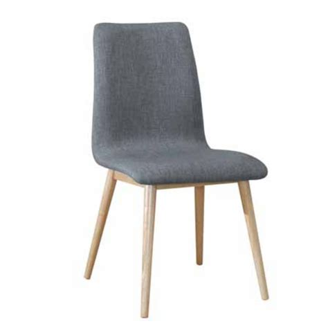 oslo solid rubberwood fabric cushion dining chair grey