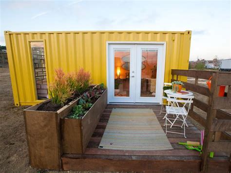 a mid century modern tiny shipping container home